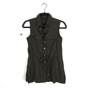 NWT River Island Khaki Green Military Shirt Vest